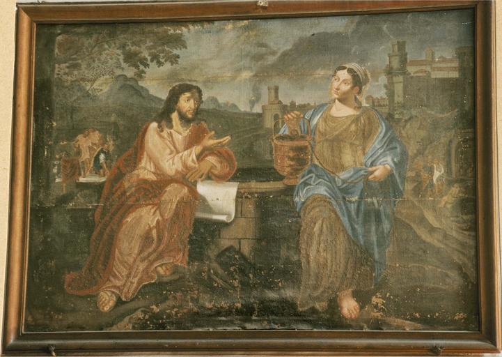 Tableau : Jésus et la Samaritaine, toile, 18e siècle