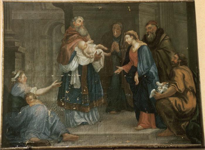 Tableau : La Présentation de Jésus au temple, toile, 18e siècle