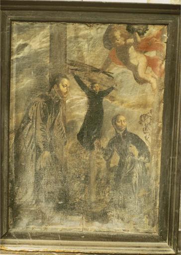 Tableau : Trois martyrs jésuites, toile 17e siècle
