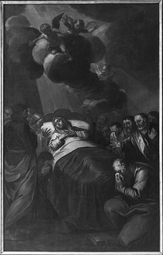 Tableau : La dormition de la Vierge, toile vers 1734, après restauration de 1975
