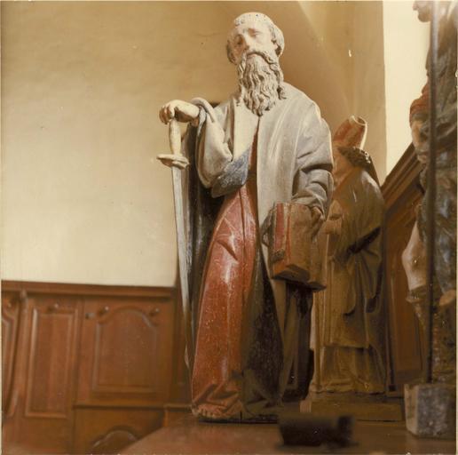 Statue : saint Paul, bois peint