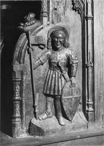 Stalles du choeur, bois sculté, 1512, détail du décor sculpté, saint guerrier