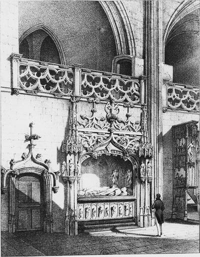 Lithographie du tombeau de Marguerite de Bourbon, par Cassieu 1841