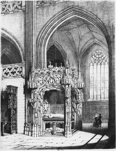 Lithographie du tombeau de Marguerite d'Autriche, femme de Philibert le Beau, par Deroy et Fichot