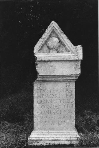 Cipe funéraire, pierre gallo-romaine, vue frontale