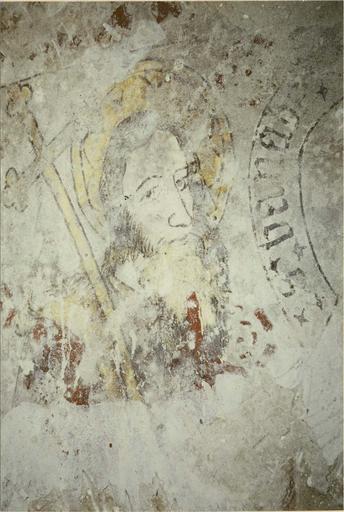 Peinture murale, 14e siècle, détail d'un visage