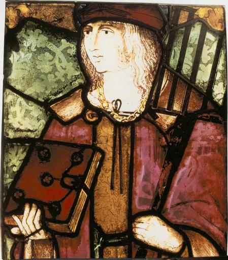 verrière du saint au dragon vert, 15e siècle, détail du saint