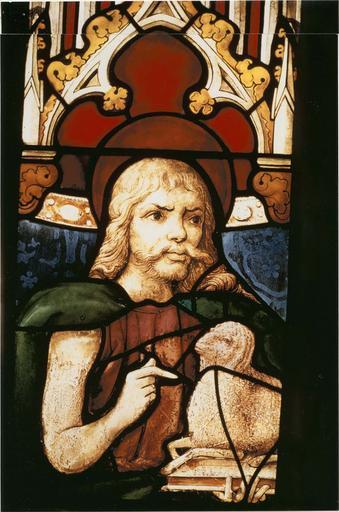 Verrière de saint Jean-Baptiste, 15e siècle, détail de la tête du saint avec l'agneau