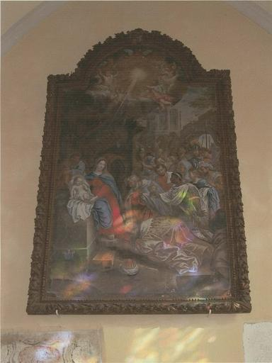 Tableau : L'Adoration des Mages, huile sur toile, 1690, cadre en bois sculpté anciennement doré