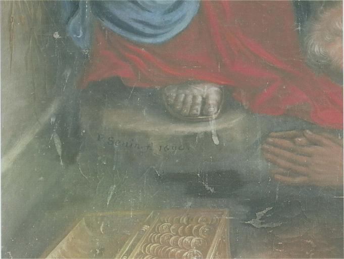 Tableau : L'Adoration des Mages, huile sur toile, 1690, détail de la signature