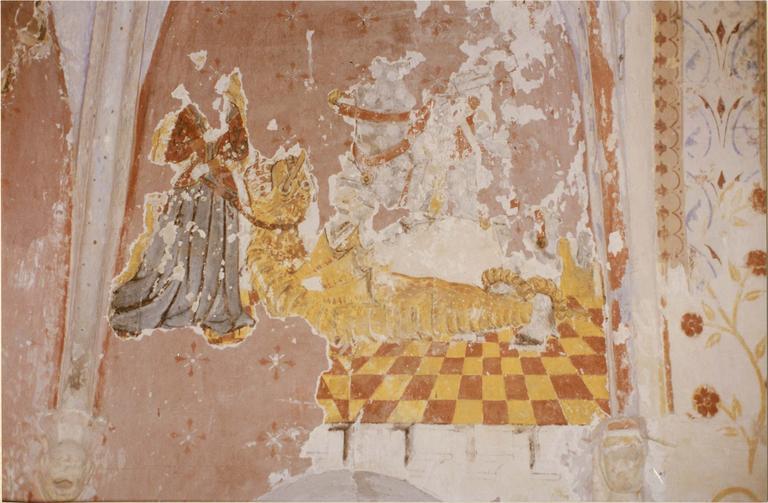 Peinture murale de l'abside, 15e siècle, détail d'un dragon
