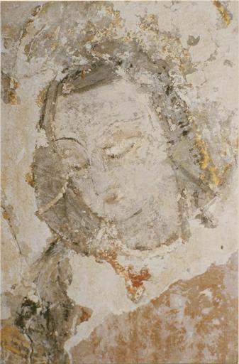 Peinture murale de l'abside, 15e siècle, détail du visage de saint Georges