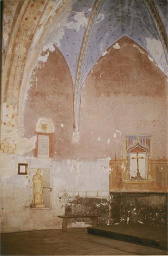 Peinture murale de l'abside, 15e siècle, vue de la partie gauche et de la voute