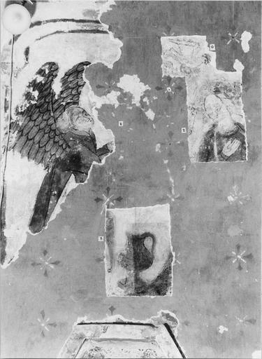 Peinture murale pan Nord de l'abside, 15e siècle, détail de l'Annonciation