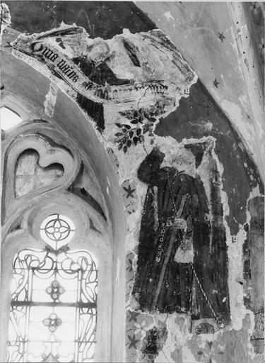 Peinture murale  pan Est de l'abside, 15e siècle, détail de l'Annonce aux bergers