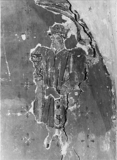 Peinture murale pan Sud-est de l'abside, 15e siècle, détail de l'Adoration des Mages ( un roi)