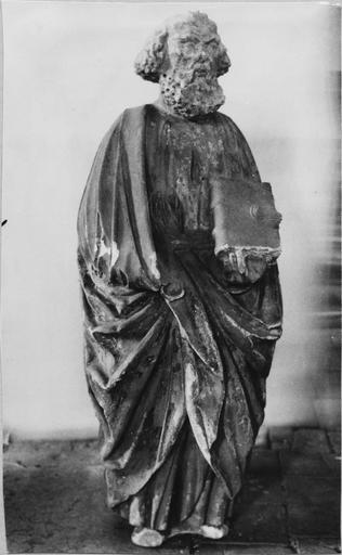Statue : saint Pierre, pierre, fin 15e siècle, vue frontale