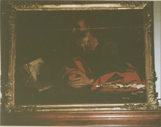 tableau : saint Jérôme, huile sur toile, XVIIe siècle