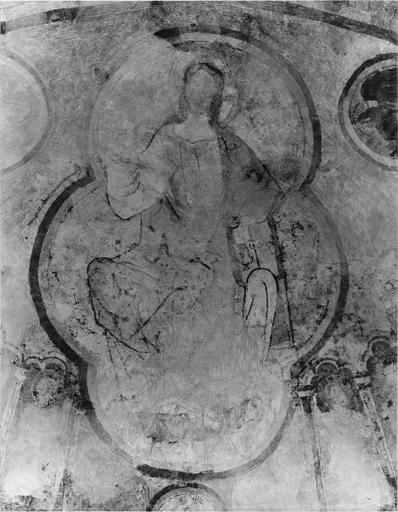Peinture murale, cul de four de l'abside, détail du Christ en majesté