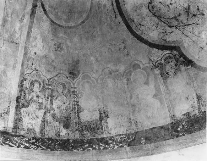 Peinture murale, cul de four de l'abside, détail des Apôtres côté Nord