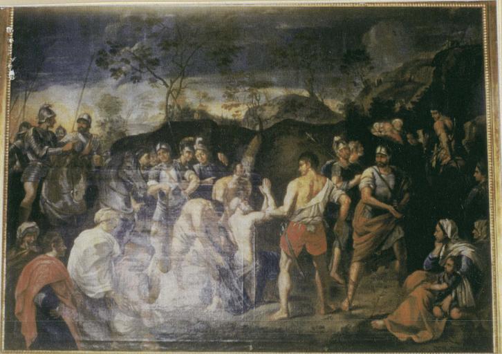 Tableau : le Martyre de saint André, huile sur toile et son cadre en bois doré, 17e siècle