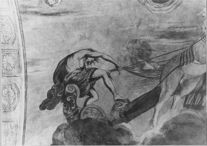 Peinture monumentale de la voûte de l'entrée sur la cour d'honneur : Le char d'Apollon, détail du dieu Apollon, après restauration de 1979