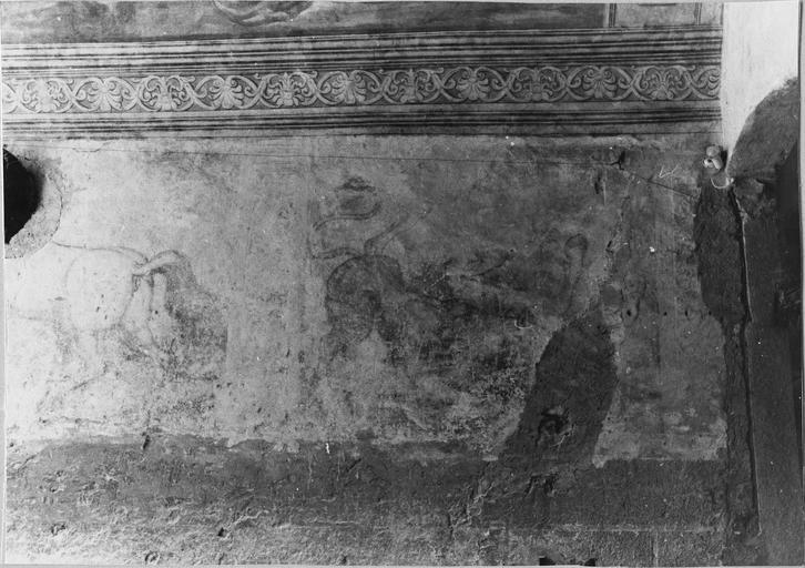 Peinture monumentale de l'entrée sur la cour d'honneur, après dégagement, détail
