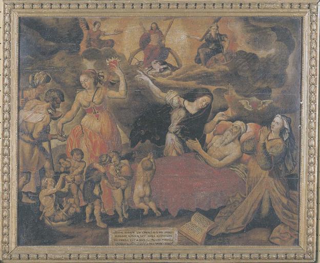 tableau : la Mort du Juste, huile sur toile et cadre en bois doré, fin 16e siècle