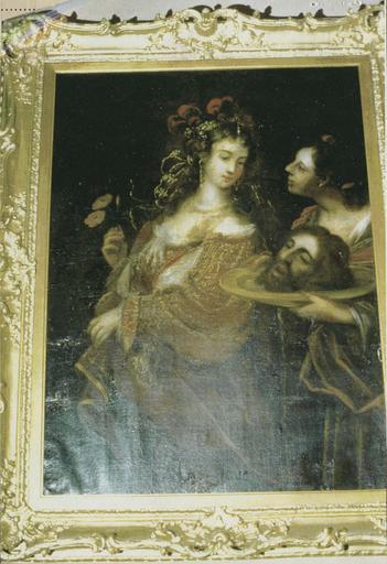 Tableau : la Décollation de saint Jean-Baptiste, huile sur toile et cadre en bois doré, 18e siècle