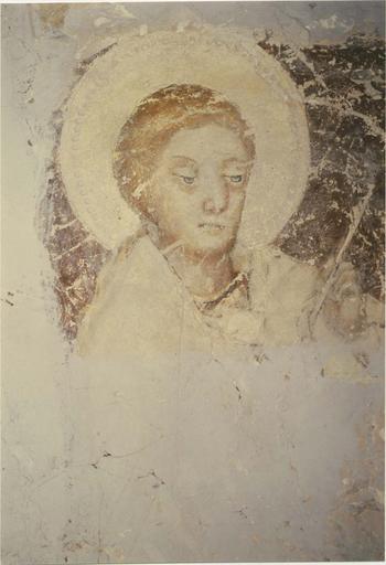 Peinture murale, fin 14e ou début 15e siècle, détail duquartier Ouest de la voûte, visage d'un évangéliste