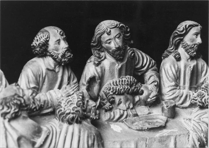 retable, bois peint et doré, 1418, détail de saint pierre, Judas, le Christ, saint jean sur sa poitrine, et saint Paul