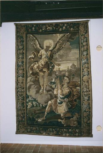 Tapisserie laine et soie : L'Apparition de l'archange saint Michel à Grégoire, Felletin, 18e siècle