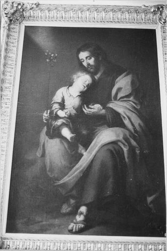 tableau : saint Joseph et l'Enfant Jésus, huile sur toile attribuée à Murillo, 17e siècle