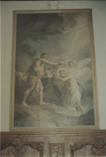 Tableau : Le baptême du Christ, huile sur toile par Brenet 1765