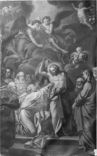 Tableau : L' Incrédulité de saint Thomas, huile sur toile, avant restauration