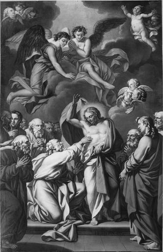 Tableau : L' Incrédulité de saint Thomas, huile sur toile, après restauration