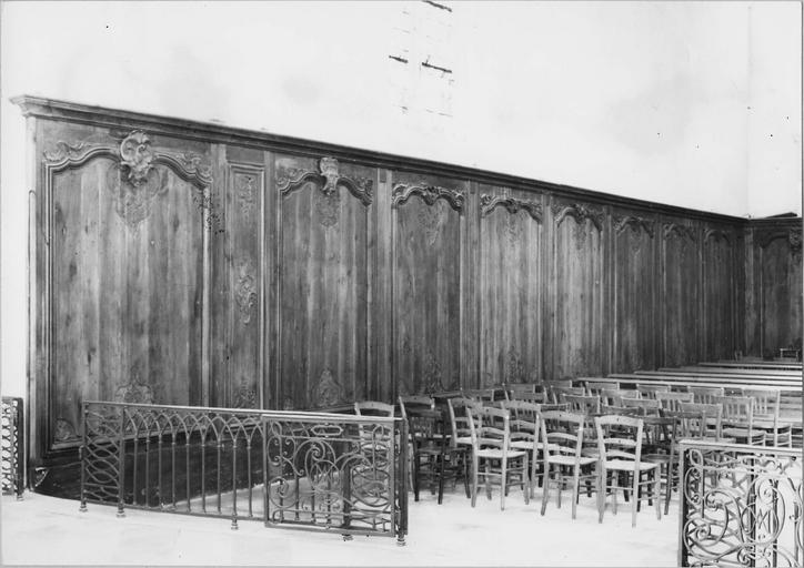 Boiseries, lambris début du 18e siècle, vue d'ensemble de la partie gauche