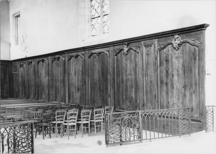 Boiseries, lambris début du 18e siècle, vue d'ensemble de la partie droite