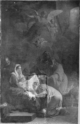 Tableau : L' Adoration des mages, huile sur toile par Brenet, en cours de restauration