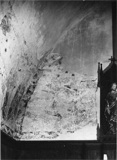 Peinture murale du choeur, détail: La Résurrection des morts, fond étoilé