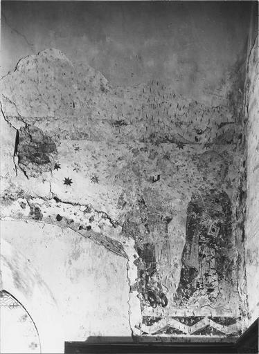 Peinture murale du choeur, mur Nord, détail de saint Pierre et saint Paul