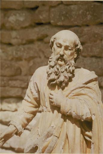 Statue : apôtre saint Paul, bois sculpté et doré, 18e siècle, vue de la partie haute