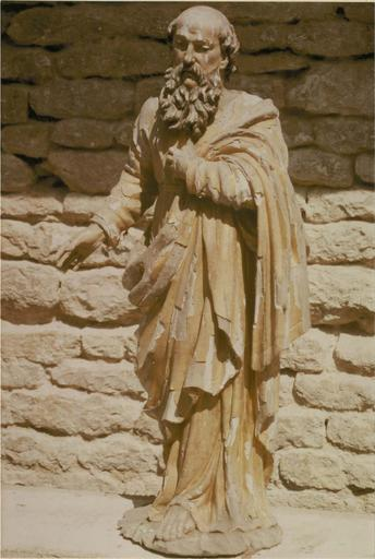 Statue : apôtre saint Paul, bois sculpté et doré, 18e siècle, vue frontale générale