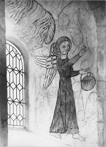 Peinture murale, ébrasement droit du choeur, détail d'un ange thuriféraire