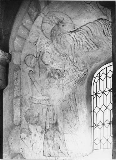 Peinture murale du choeur ébrasement gauche, détail d'un ange thuriféraire et de l'agneau pascal