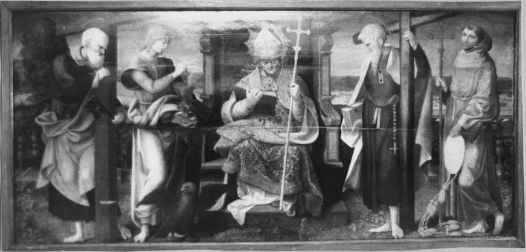 Tableau : Un évêque entouré de saint Pierre saint Jean l'évangéliste saint Philippe et saint Bonaventure, 16e siècle, après restauration de 1976