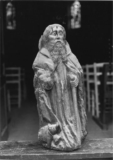 statue : saint Antoine, bois, 15e siècle, vue frontale