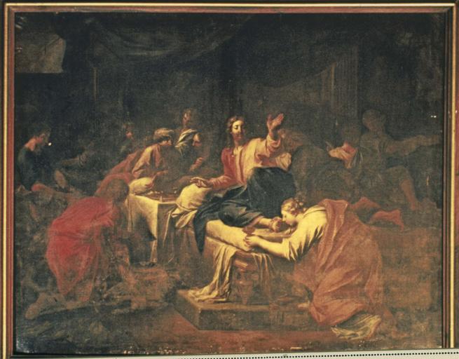 tableau : Madeleine chez le pharisien, huile sur toile, 1706