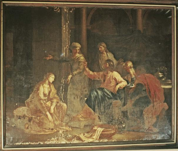 Tableau : Madeleine aux pieds du Christ chez Marthe, huile sur toile, 1706