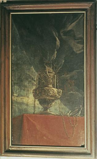 tableau : Encensoir fumant (un autre similaire en pendant),, huile sur toile, vers 1710